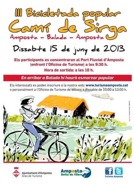 ATUREBRE. Associació Turisme Rural Comarques de l´Ebre > activitats > III Bicicletada Popular Camí de Sirga Amposta-Balada