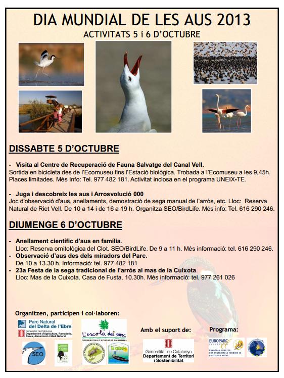 ATUREBRE. Associació Turisme Rural Comarques de l´Ebre > activitats > DIA MUNDIAL DE LES AUS.<br>5 i 6 D´OCTUBRE
