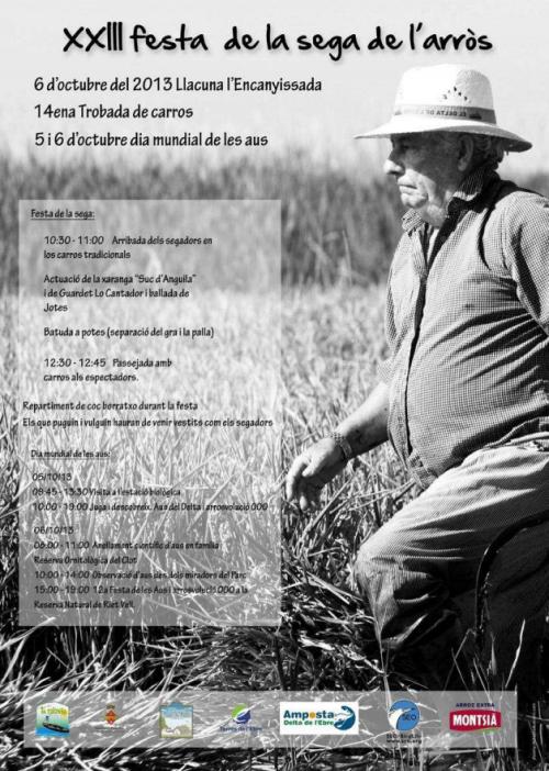 ATUREBRE. Associació Turisme Rural Comarques de l´Ebre > activitats > XXIII FESTA DE LA SEGA DE<br>L´ARRÒS. Llacuna Encanyissada<br>6 octubre 2013